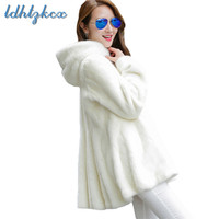 Fur Coat Women Black and White Plus Size Long Sleeve Hooded Fur Jacket 2018 Winter New Korean Office Chic Thick Clothing LD650