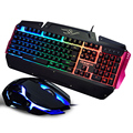 Wired Colorful Luminous Gaming Keyboard and Mouse Set Combo USB Reseiver Gmaer Mice for Computer Desktop PC