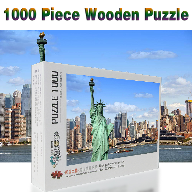 US $25 8 |USA Houses Statue of Liberty New York City 1000 pieces Adult  Wooden Landscape jigsaw Puzzles For Children Educational Toys Gifts-in  Puzzles