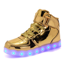 EU 25-42 Led Shoes for kids and adults USB charger Light Up High top sh