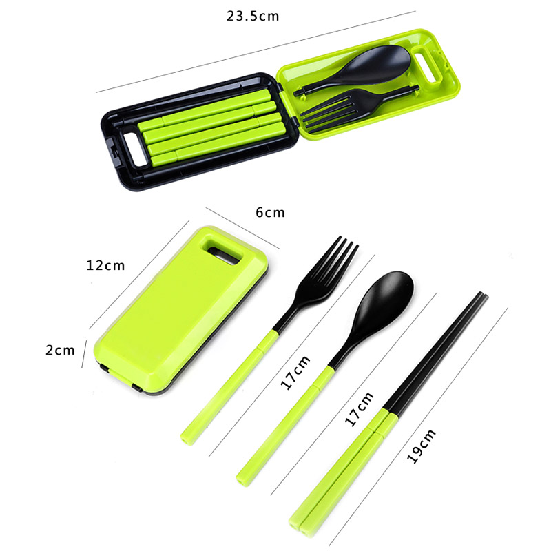 3 in 1 ABS Folding Dinnerware Cutlery Fork Chopsticks Set with Storage Box Outdoor kamp Camping Hiking Traveling Tableware Set