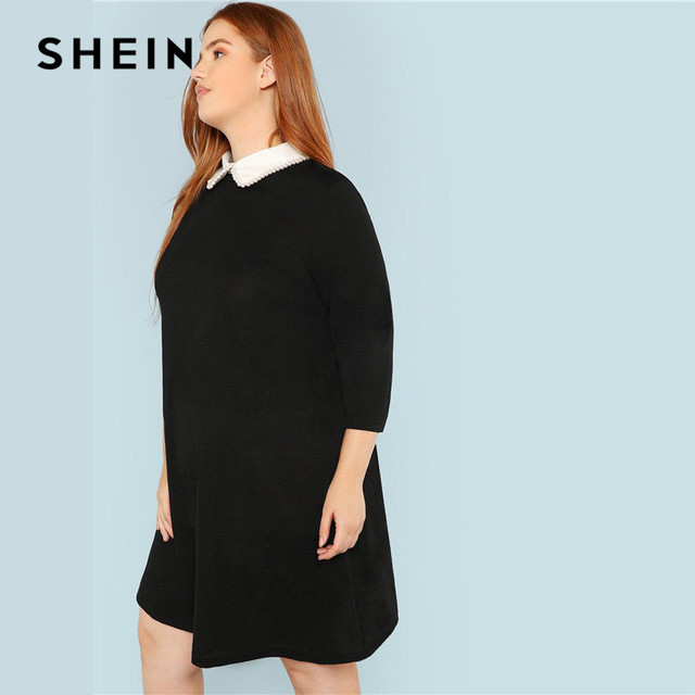 SHEIN Plus Size Black Cute Peter pan Collar Beading Pearl Embellished A-Line Loose Dresses Women Spring Autumn Knee-Length Dress 2
