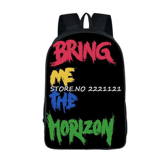 03c4e1df5686 Bring Me The Horizon Рюкзаки Для Подростков Женщины Мужчины Рок Дорожные  Сумки Девушки Парни Колледжа Студент