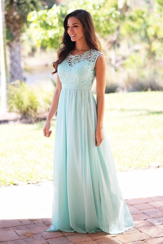 Mint Maxi Bridesmaid Dresses Sleeveless Lace Top Chiffon Skirt Boho ...