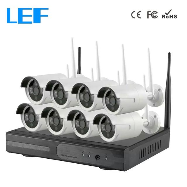LEF 8CH NVR Kit WIFI CCTV System 8PCS 720P HD Outdoor Wireless CCTV ...