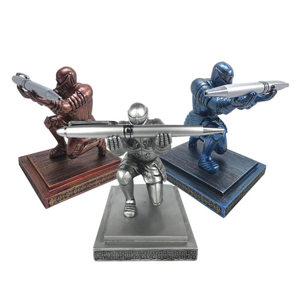 Creative Desktop Storage Soldier Knight Pen Stand Holder Support Pen Seat Desk Armor Hero Stand