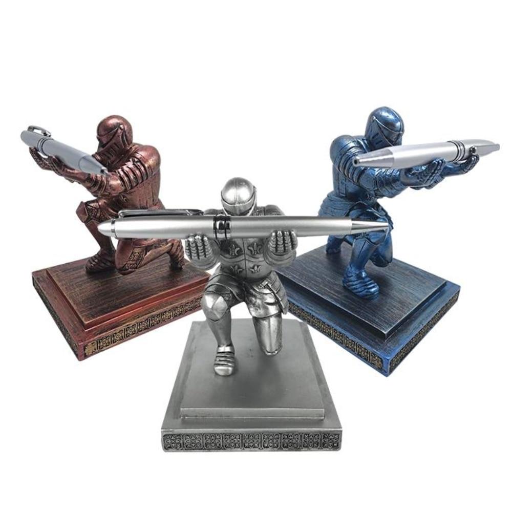 Creative Desktop Storage Soldier Knight Pen Stand Holder Support Pen Seat Desk Armor Hero Stand