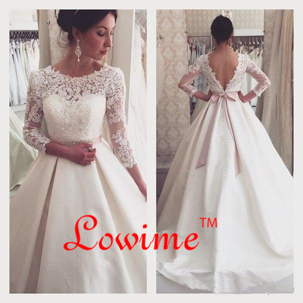 Casamento Modest Lace Sleeves Satin Wedding Gown With Bow Beads Crystal Dresses 2017 Alibaba China