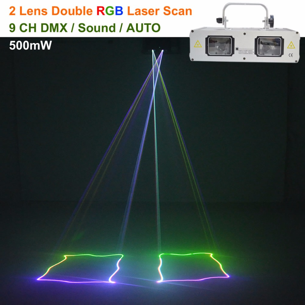 AUCD 2 Lens Scan Sliver Shell RGB Beam Pattern Laser Lights DMX 9CH PRO DJ Party Club Home Holiday Wedding Show Stage Lighting цена