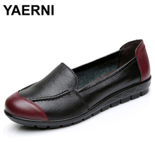 YAERNI Cow Muscle Ballet Mixed Colors Print Women Genuine Leather Shoes Woman Flat Flexible Loafer Flats Appliques z304