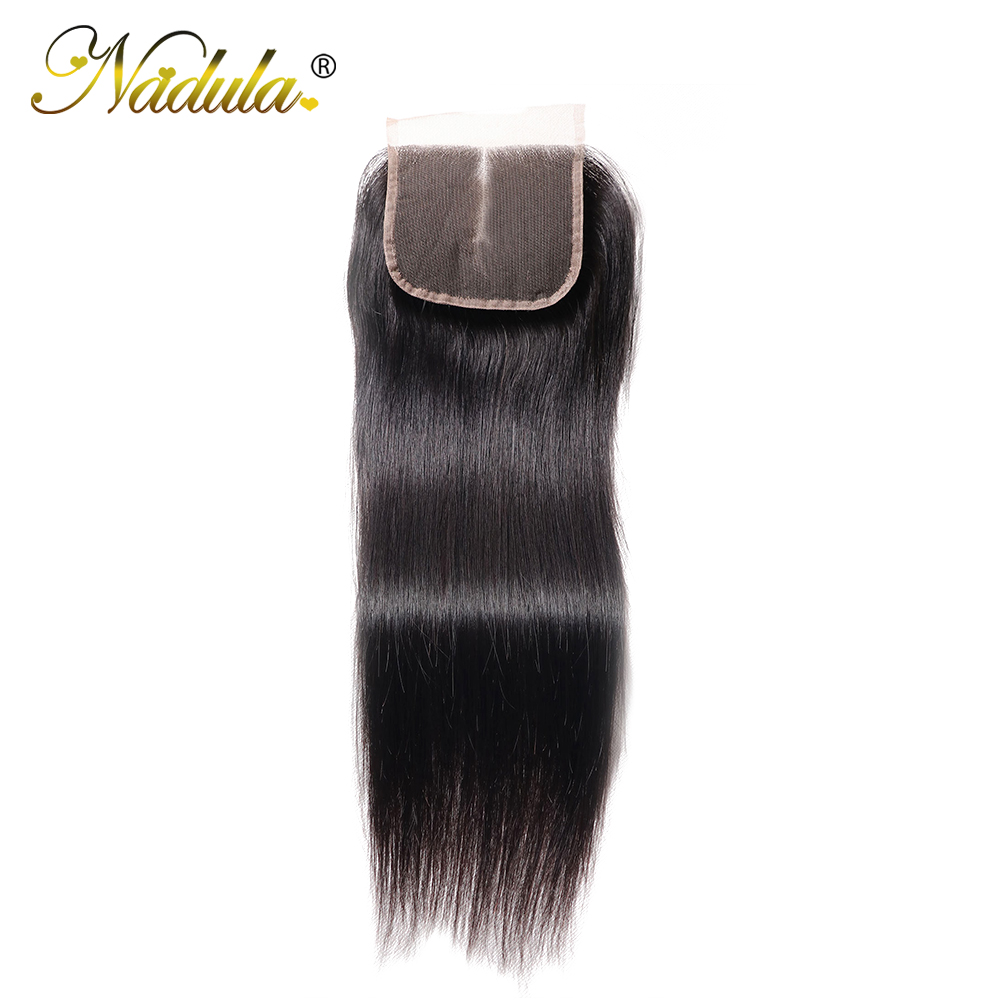 Nadula Hair 4x4 Middle Free Three Part Closure Indian Straight Hair Natural Color Remy Hair 10