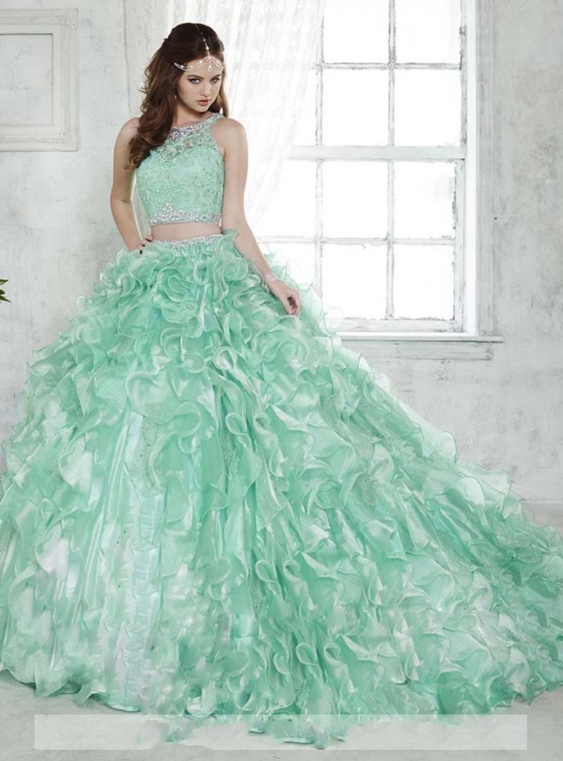 Mint Green Lace 2 Piece Quinceanera Dresses Beads Illusion Neckline ...