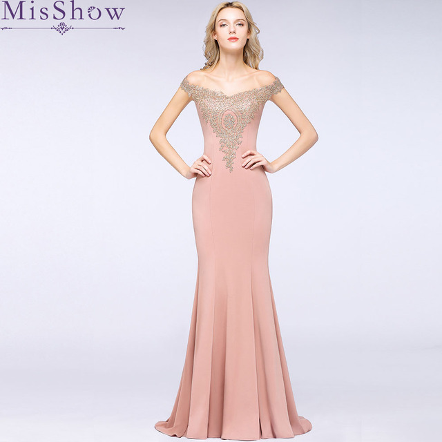 9b77ff3b17 US $64.99 47% OFF|Elegant Mermaid New Pink Long Evening Dress 2019 Robe De  Soiree Longue Formal Party Evening Gown With Appliques Prom Dress-in ...
