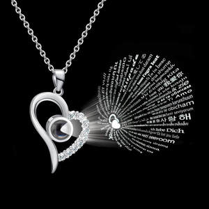 CZ Jewelry Gold-Chain Collier Projection Pendant Necklace Women Stainless-Steel Languages