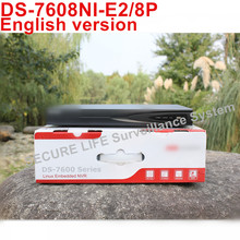 En stock DS-7608NI-E2/8 P 8ch NVR con 2 SATA versión Inglés 8 POE puertos HDMI y salida VGA embedded plug & play NVR POE H.264