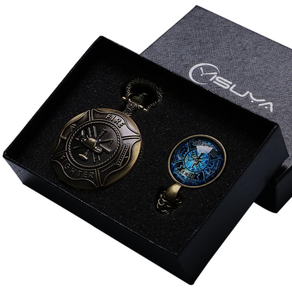 Antique Fire Fighter Control Cuarzo Reloj de bolsillo Collar Colgante - Relojes de bolsillo