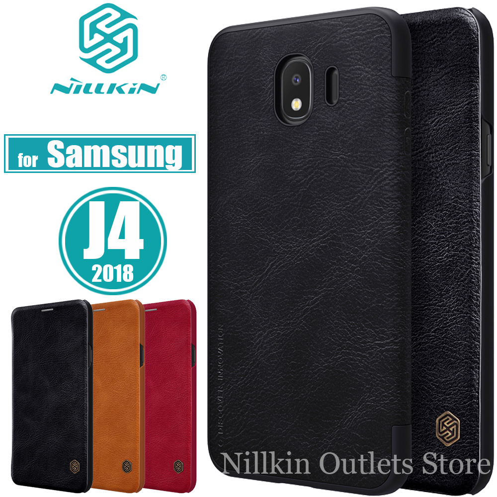 for Samsung Galaxy J4 2018 Case Nillkin Luxury Soft PU Flip Leather Wallet Smart Phone Bag Back Cover for Samsung J4 J400G Cases
