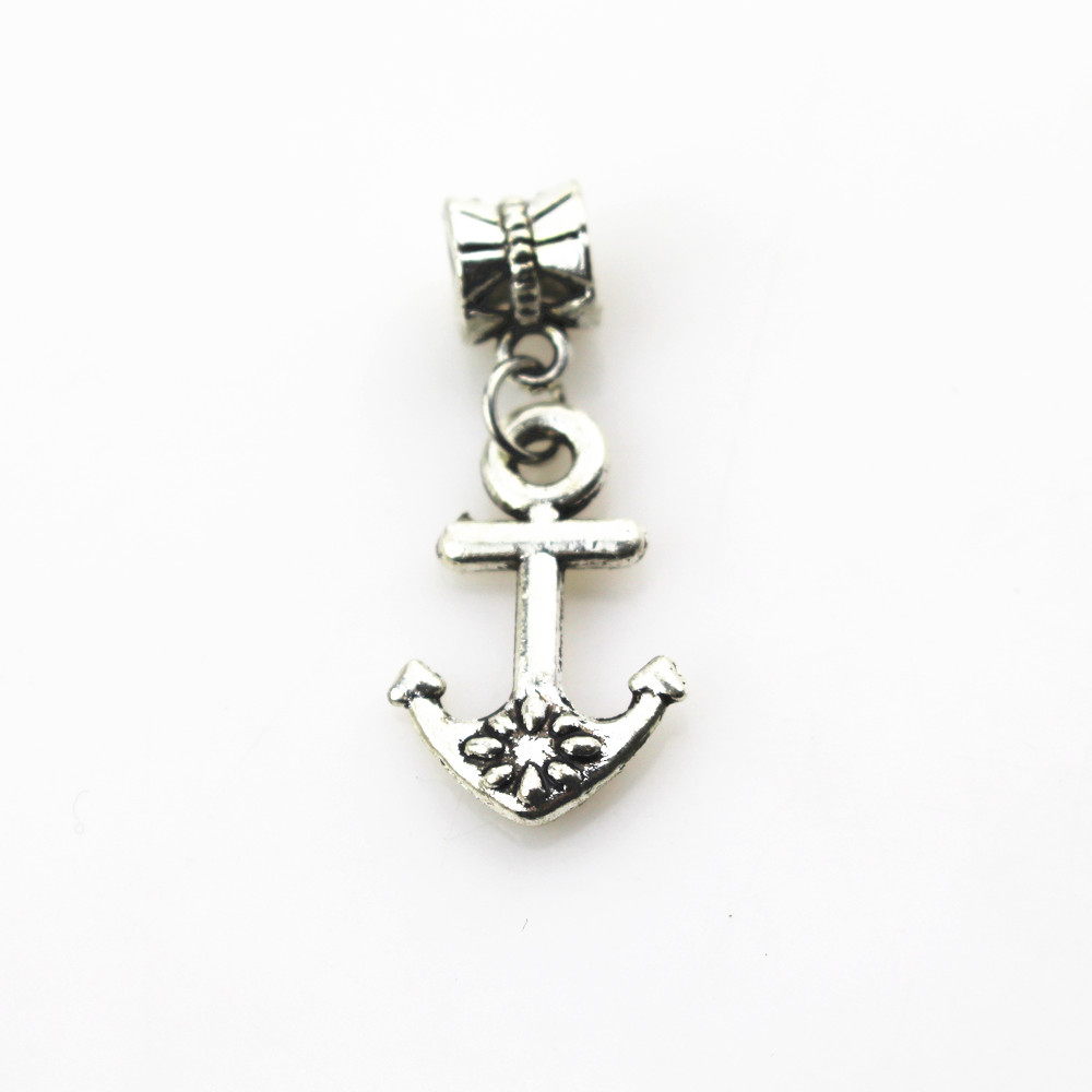 Hot selling 20pcs/lot anchor charms hanging charm big hole pendant fit women bracelet & bangle diy jewelry dangle charms
