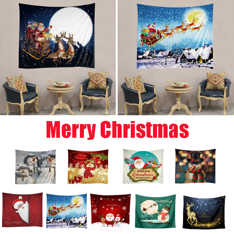 Christmas Tapestry Wall Hanging Beach Towel Santa Claus