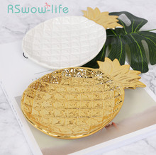 Tableware Golden Pineapple Ceramic Plates Jewelry Storage Tray Pastry Fruit Dish Dinner  Snack For Kitchen Supplies