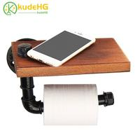 Industrial Retro Iron Toilet Paper Holder Hotel Roll Paper Wall Hanging Rack Wooden Shelf with Phone Holder Kitchen Bathroom5822