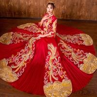 Oriental Bride Dragon Phoenix Wedding Gown Dress Traditional Chinese Bride Wedding Qipao Vintage Women Cheongsam Modern Dresses