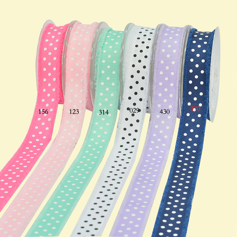 "1"" inch (25mm) Dots Printed grosgrain ribbon with fringe For diy girls headband Garment accessories"