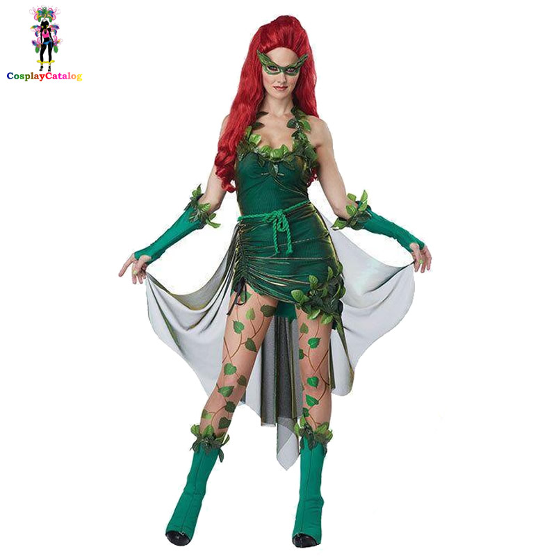 Toxic Poison Ivy Vixen Costumes Halloween Party Fancy Dresses For Adult Women,Lady halloween Costume set Goggles+Gloves+Dress