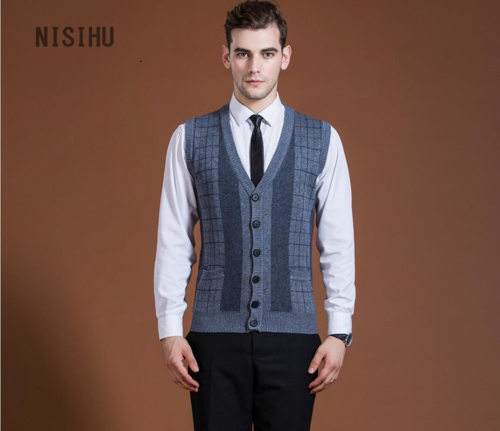 Hot sale new style mens v neck wool knit sweater vest formal men ...