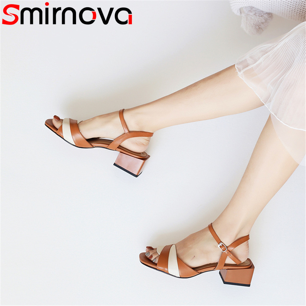 Smirnova black fashion summer new arrive shoes woman buckl sandals women square heel buckle mixed colors genuine leather shoes new women sandals low heel wedges summer casual single shoes woman sandal fashion soft sandals free shipping