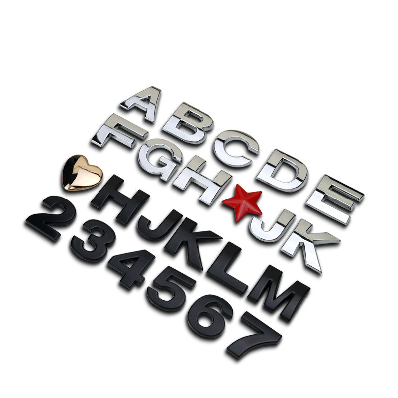 1pc 25mm Letters Numbers Silver Plastic Styling Car Emblem Badge 3d Car Stickers Refitting Decal Logo