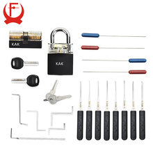 KAK Locksmith Practice Lock Tension Wrench Tool Pick Set Hook Combination Padlock Broken Key Extractor Tools Hardware With Cover(China)