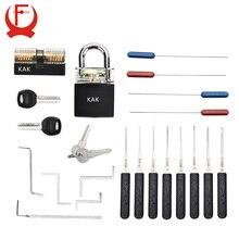 KAK cadenas à clé à Tension pour la pratique du serrurier, jeu de sélection doutils, crochet à combinaison, cadenas dextraction de clé cassée, matériel avec couvercle