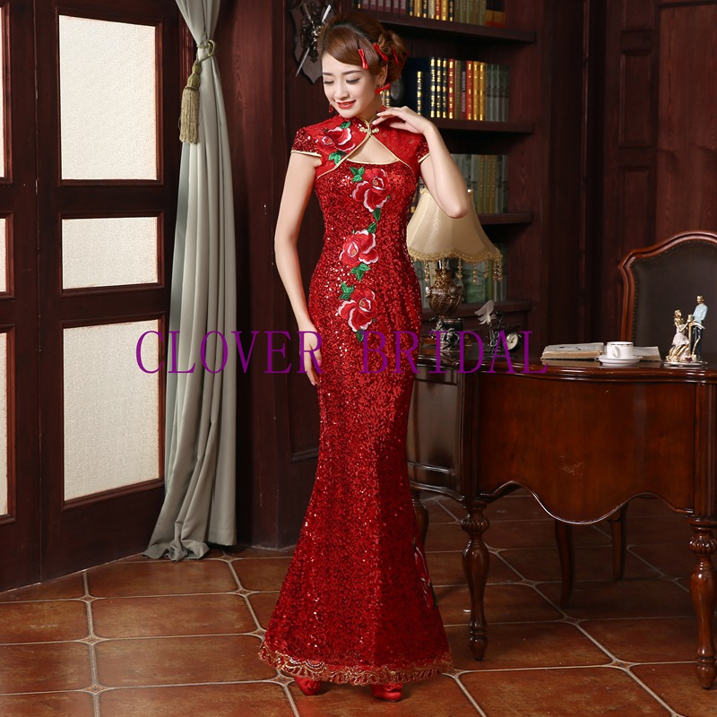 Vintage Elegant Red High Neck Lace Sequin Embroidery Long