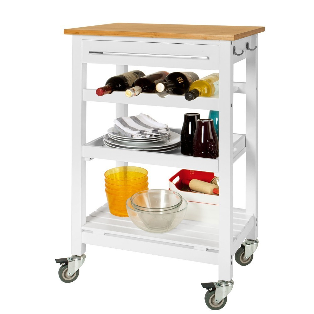 SoBuy FKW16-WN  Kitchen Storage Serving Trolley Shelf cart with Free Chopping Block