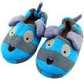 Algodão Inverno Sapatos de Interior Anti-Skid 3-8 Anos do Menino Azul Do Cão Em Casa Crianças Chinelos TCCS6076