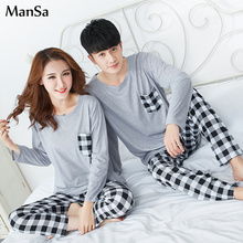 2019 Spring Autumn thin Cotton Couple Pajama set Long Sleeve male Sleepwear  suit Men Women pajamas 505bd70b3