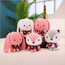 24cm New Style Cute Cartoon Rabbit Fox Plush Toys Stuffed Animal Doll Toy Children Soothe Baby