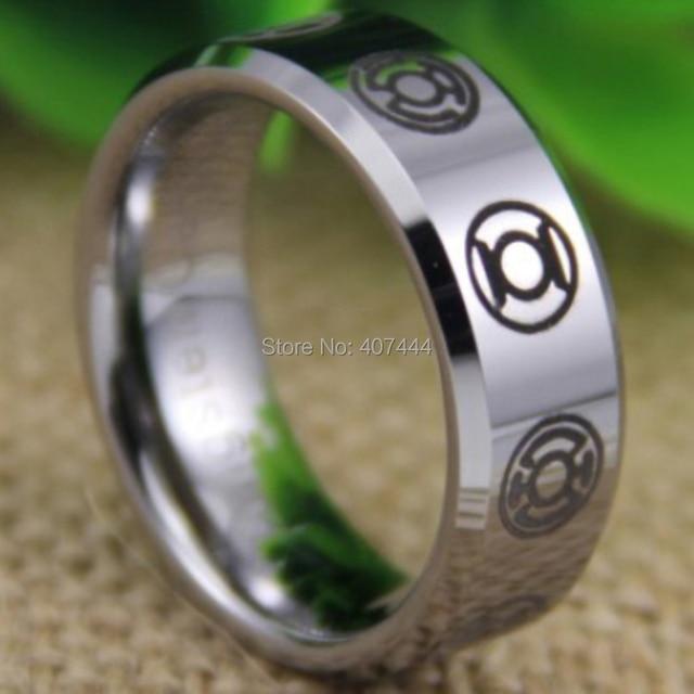 Free Shipping YGK JEWELRY Hot Sales 8MM Comfort Fit Green Lantern Darkest Night New Silver Tungsten Wedding Ring