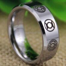 Kostenloser Versand YGK SCHMUCK Heiße Verkäufe 8mm Comfort Fit Green Lantern Dunkelsten Nacht Neue Silber Wolfram Hochzeit Ring
