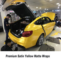 5ft X 65ft Roll High Quality Matt Satin Pearl Yellow Vinyl Wrap Self Adhesive Air Release