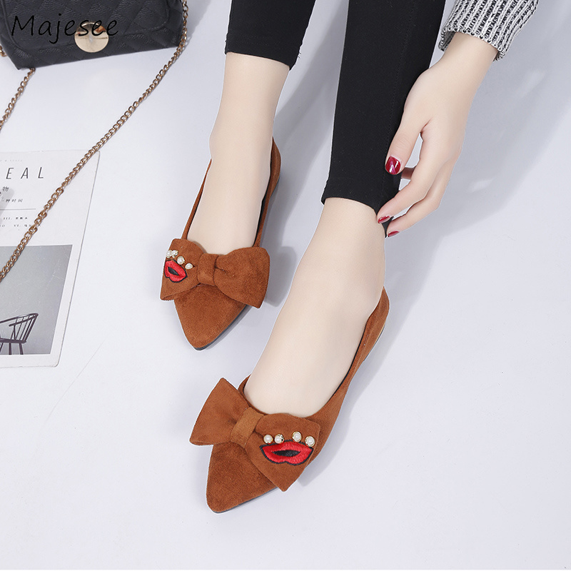 Flats Women Simple Leisure Korean Style Flock Harajuku Pointed Toe Elegant Womens All-match Flat Ladies 2019 Chic Shoes Non-slipFlats Women Simple Leisure Korean Style Flock Harajuku Pointed Toe Elegant Womens All-match Flat Ladies 2019 Chic Shoes Non-slip
