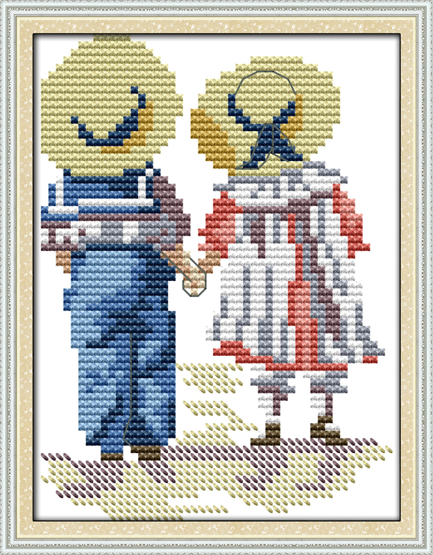 Sister and brother counted printed on fabric DMC 14CT 11CT Cross Stitch kitsembroidery needlework Sets Home Decor