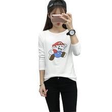 2016 Fashion Long Sleeve T-shirt Plus Size Camisas Femininas Harajuku T Shirt Kawaii Cartoon Mario Print Top Women Tshirt