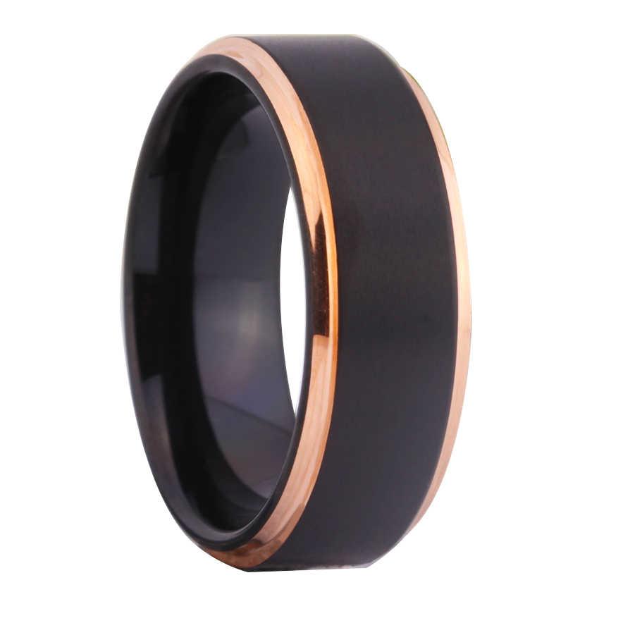 Anéis de casamento de tungstênio para anéis de noivado clássico feminino preto fosco com ouro rosa passo anel de tungstênio conforto ajuste design
