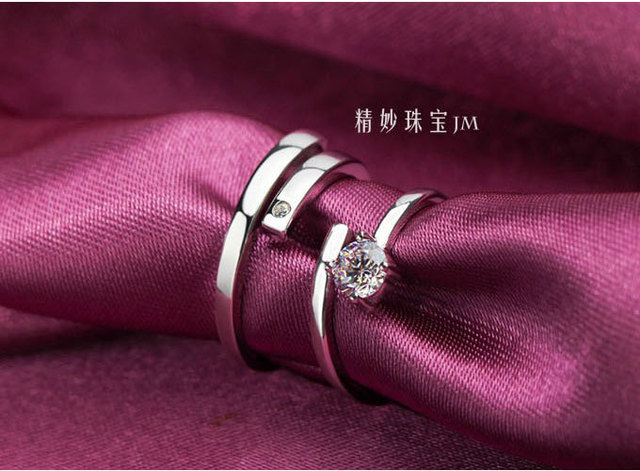 1 pair Lover 925 Sterling Silver Zircon Crystal Couple Rings Her and His Promise Ring Band Adjustable Open style engagement ring