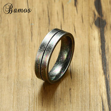 Bamos Male Female Stainless Steel Ring Simple Round Finger R