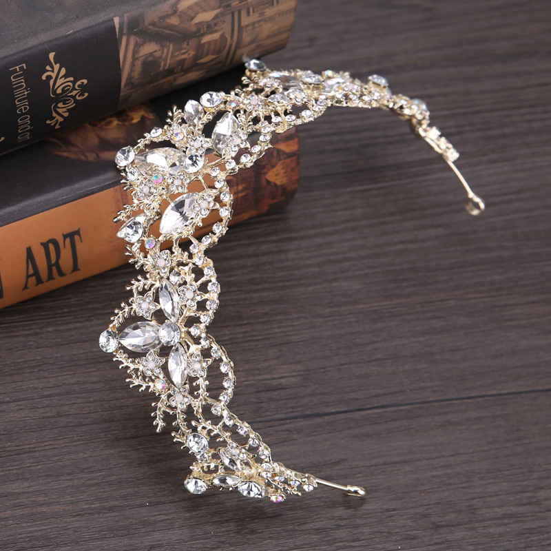 New Fashion Baroque Luxury Crystal AB Bridal Crown Tiaras Light Gold Diadem Tiaras for Women Bride Wedding Hair Accessories 8