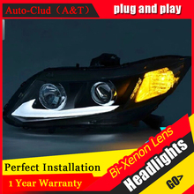 Auto Clud For Honda Civic headlights parking 2011-2014 For Honda Civic LED light bar DRL Q5 bi xenon lens h7 xenon car styling