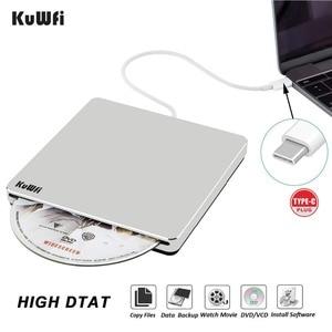 USB-C Superdrive External Drive Burner DVD CD VCD Reader +/- RW Rewriter Writer Player For Laptop/Desktop Windows For Mac OS